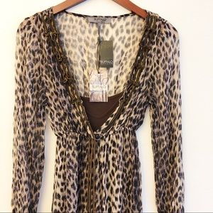 NWT BUFFALO David Bitton Leopard Print Dress SZ S